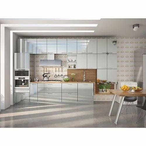 Acrylic White Open Modular Kitchen