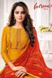 Silk Embroidery Salwar Suit-12 Pcs Set