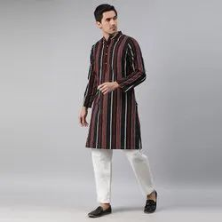 Janasya Men's Black Cotton Kurta(MEN5017)