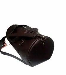 Brown Plain Leather Travel Duffle Bag