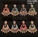 Fusion Arts Meenakari Pearl Chandbali Earrings
