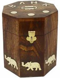 Brown Wooden DNU Money Piggy Bank Box Toy for Personal, Size/Dimension: 4x4x6 Inch