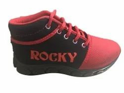 Tik Time Casual Wear Red And Black Boys Lace Up Shoes, Size: 11