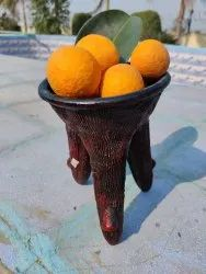 Brown Handmade Terracotta Fruit Stand, For Home