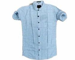 Emenza Collar Neck Men Check Shirt, Handwash