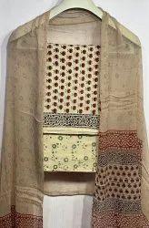 Natural Bagru Ajrakh Hand Block Printed Cotton Dress Material With Chiffon Dupatta.