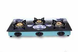 3 Burner Automatic Black Glasstop Gas Stove, For Kitchen, Model Name/Number: AGT3BL