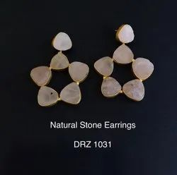 White, Brown Star Natural Stone Earrings