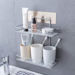 Stainless Steel 2 Layer Metal Bathroom Rack Storage Shelves, For Home