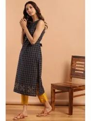 Janasya Women's Navy Blue Cotton Kurta (J0139)