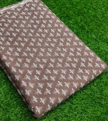 Brown Color Pure Hand Block Cotton Fabric