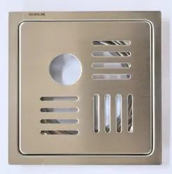 Stainless Steel Bathroom Drain Floor Jali With Pipe Hole, MATT Finish, Size 6 x 6