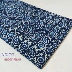 Indigo Block Print Cotton Fabric Running