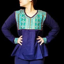 Ladies Full Sleeve Blue Cotton Top