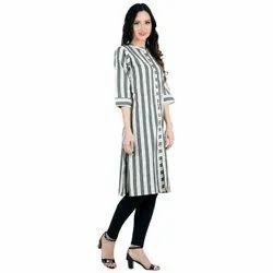 Grey Check Line Designer Kurti