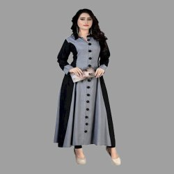 Casual Wear Full Sleeve Ladies Anarkali Collar Neck Rayon Kurti