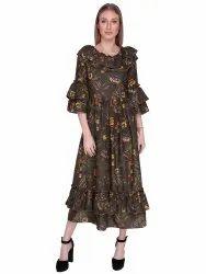 women's long frill dress