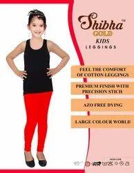 Shibha Red Kids Plain Cotton Legging, Size: 36