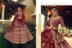 Maroon Red Bridal Velvet Lehenga Choli With Embroidery & Hand Work