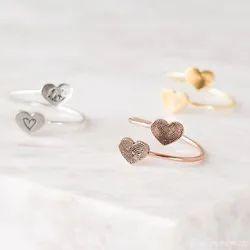 Double Heart Fingerprint Ring