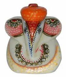 Marble ganesh wearing orange turban 3 inch