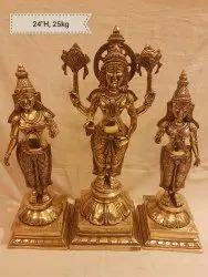 Balaji Brass Idol with sridevi and Budevi wife, Packaging Type: Box