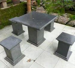 Black Marble Table Set, For Garden