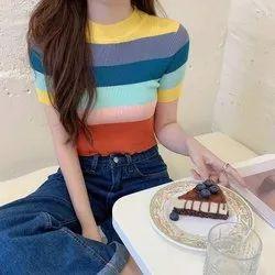 Multicolor Rainbow Crop Top