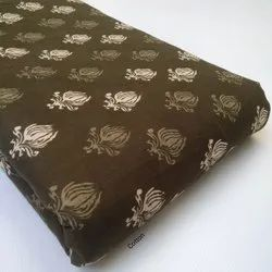 Brown Dyed Booty Hand block printed Fabric