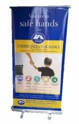 Silver Flex United India Insurance Roll Up Standee, For Promotional, Size: 6*2.5 Feet