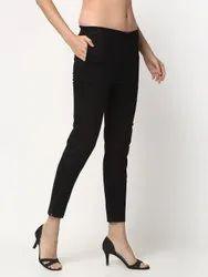 Style Prezone Black Women Cotton Pants, Waist Size: L.XL.XXL.3XL
