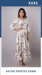 Black Printed Women Party Wear Gown