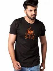 Men Black Printed Cotton T Shirt