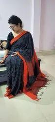 Casual Ladies Handloom Khadi Check Cotton Sarees, With Blouse Piece