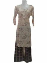 A-Line Stitched Ladies Cotton Palazzo Suit, Machine wash