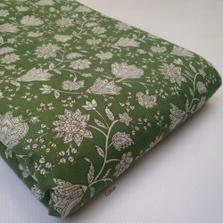 Green Printed Cotton Fabric Running