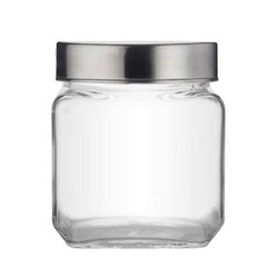 Croco Square Shape Storage Glass Jar, 600 ML, Dry Fruit, Kitchen Container