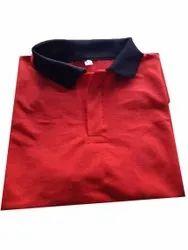 Collar Neck Red Mens Plain T Shirt, Size: Medium