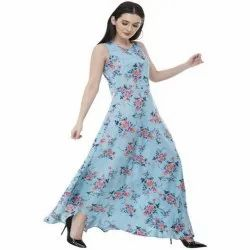 Casual Wear Sky Blue (Base) Ladies Floral Printed Crepe Long Gown