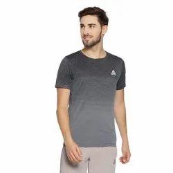 Round Half Sleeve Mens Grey Lining T Shirt, Size: Medium
