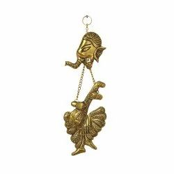 Metal Ganesha Wall Hanging With Musical Instrument