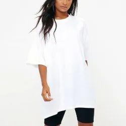 Half Sleeve Round Ladies Oversized T Shirt, Size: Medium