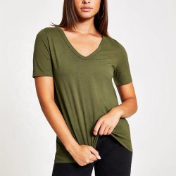 Half Sleeve Olive Green Women V Neck T Shirt
