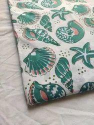 White Hand Block Print Cotton Fabric