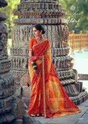 Formal Wear Printed Kashvi Creation Ahiri Chiffon, With Blouse Piece, 5.5 M (separate Blouse Piece)