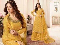LT Fabrics Heavy Dola Silk Jaquard Designer Party Wear Suits