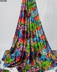 Multicolored Flora Sartin Silk Digital Print Fabric