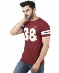 Maroon Samsa Mens Half Sleeves Cotton T Shirt, Size: Medium