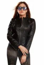 Full Sleeve Black Women Leather Jackets