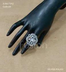 Fusion Arts Rodium Polish American Diamond Finger Ring